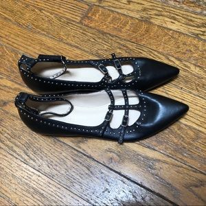 Marc Fisher Caged Leather Pointy Toe Studded Flats